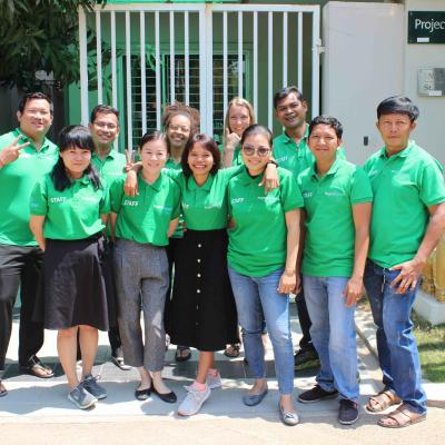 Trained Cambodian staff employed by Projects Abroad check on a safe volunteer abroad placement.